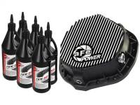 aFe Power - AFE Filters 46-70012-WL Pro Series Rear Differential Cover Kit Black w/Machined Fins/Gear Oil Dodge Trucks 03-14 L6-5.9/6.7L (td); GM 01-07 V8-8.1L; GM Trucks 01-17 6.6L (td) (AAM 11.50-14 Bolt Axles)
