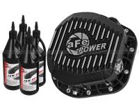 Steering And Suspension - Differential Covers - aFe Power - AFE Filters 46-70022-WL Pro Series Rear Differential Cover Kit Black w/Machined Fins/Gear Oil Ford F-250/F-350/Excursion 86-16 V8-7.3L/6.0L/6.4L/6.7L (td)