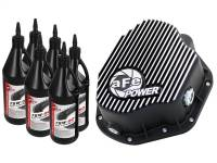 Steering And Suspension - Differential Covers - aFe Power - AFE Filters 46-70032-WL Pro Series Rear Differential Cover Kit Black w/Machined Fins/Gear Oil Dodge Diesel Trucks 94-02 L6-5.9L (td); Ford F-350/450 DRW 99-07 V8-7.3L/6.0L(td) (Dana 80 Axles)