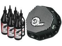 aFe Power - AFE Filters 46-70092-WL Pro Series Rear Differential Cover Kit Black w/Machined Fins/Gear Oil Dodge Diesel Trucks 03-05 L6-5.9L (td) (AAM 10.5-14 Bolt Axles)