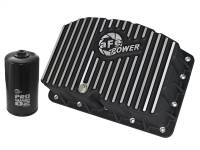 Engine Parts - Oil System - aFe Power - AFE Filters 46-70322 Pro Series Engine Oil Pan Black w/Machined Fins Ford Diesel Trucks 11-17 V8-6.7L (td)