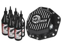 Steering And Suspension - Differential Covers - aFe Power - AFE Filters 46-70352-WL Pro Series Rear Differential Cover Black w/Machined Fins/Gear Oil Ford Diesel Trucks 2017 V8-6.7L (td)