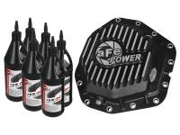 Steering And Suspension - Differential Covers - aFe Power - AFE Filters 46-70382-WL Pro Series Rear Differential Cover Black w/Machined Fins/Gear Oil Ford Diesel Trucks 2017 V8-6.7L (td) Dually models